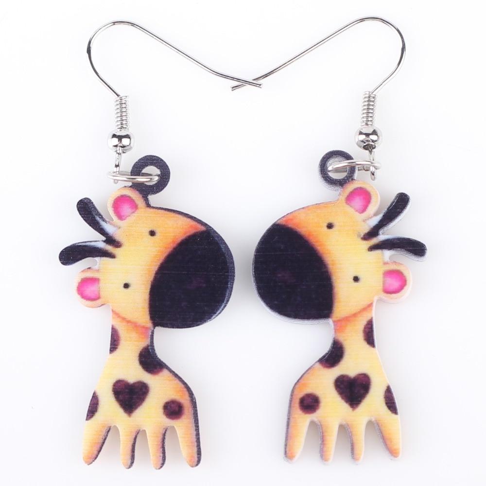 Bonsny Long Drop Brand Lovely Giraffe Earrings Acrylic New 2015 Jewelry For  Girls Women Gift Cartoon Child Earrings Accessories