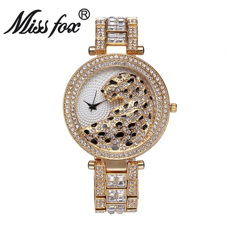 Miss Fox брендовые Роскошные леопардовые часы модные женские золотые часы очаровательные полностью бриллиантовые золотые кварцевые наручные