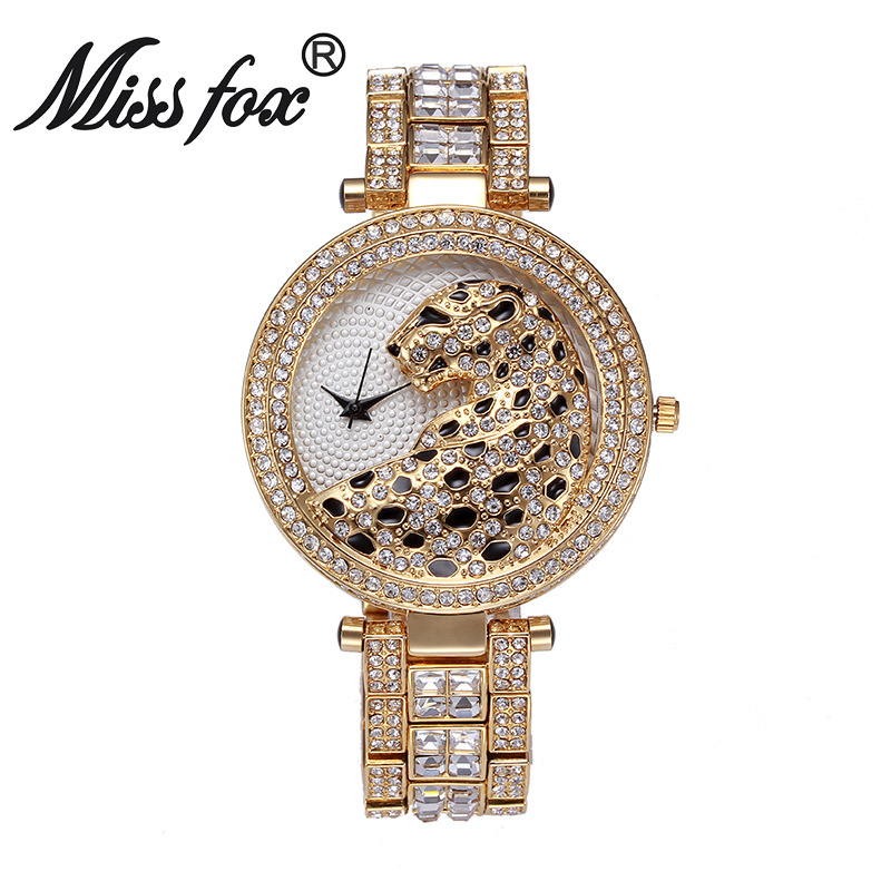 Miss Fox Brand luxury Leopard Watch Fashion Women Golden Clock Charms Full Diamond Gold Quartz Wrist Watches bs floral girls princess dress for dancing costume short sleeve v neck floor length flower girl dresses family matching outfits