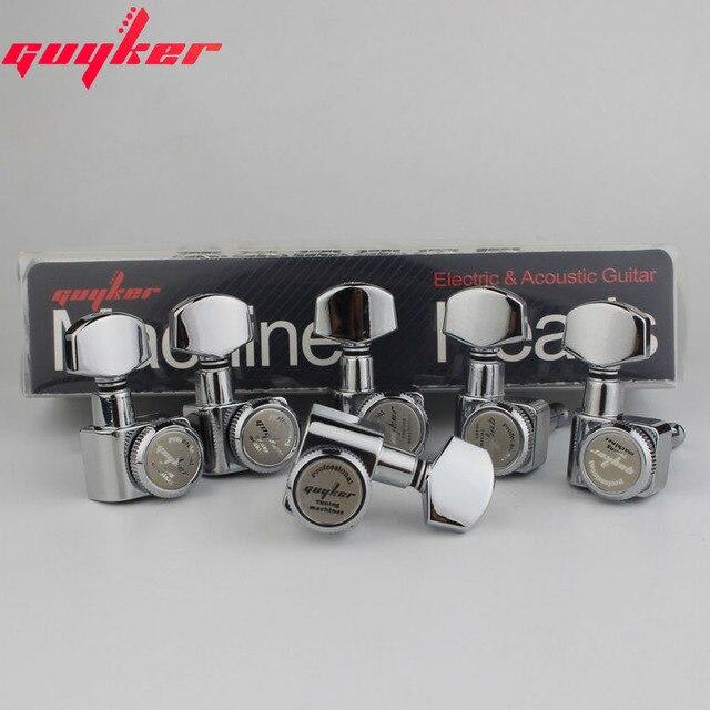 1 conjunto guyker 6 in line cabeças de máquina sem parafusos de bloqueio tuning chave pegs tuners cromo prata 6r