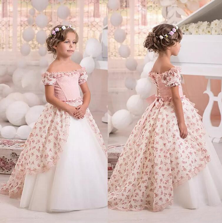 Off Shoulder Print Vintage Flower Girls Dresses Short Sleeves Lace Ball Gown Little Girls Gowns Floor Length Kids Formal Wear light blue stripe pattern off shoulder short sleeves playsuit