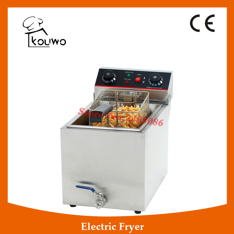 Stainless Steel table counter top food processing machine 6L electric single tank chicken potato chips deep Fryer with tap shipule fast food restaurant 30l commercial electric chicken deep fryer commercial potato chips deep fryer frying machine