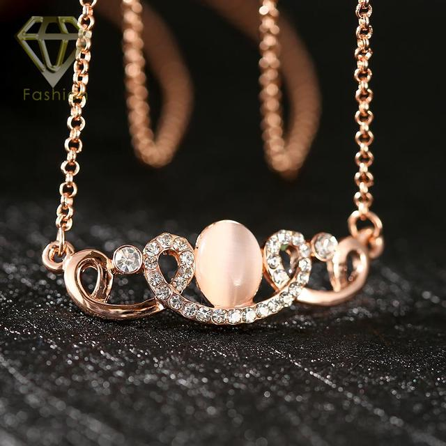 2017 Best Gift Rose Gold Color Luxury Rhinestone Crown Necklace Opal