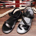 2015 summer new Men Shoes leather sandals, Black men sandals flip flops gladiator sandals, EU38-43, Free Ship!