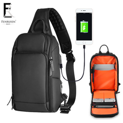 FRN 2018 USB Charging Chest Pack Men Casual Shoulder Crossbody Bag Chest Bag Water Repellent Travel Messenger Bag Male Sling Bag