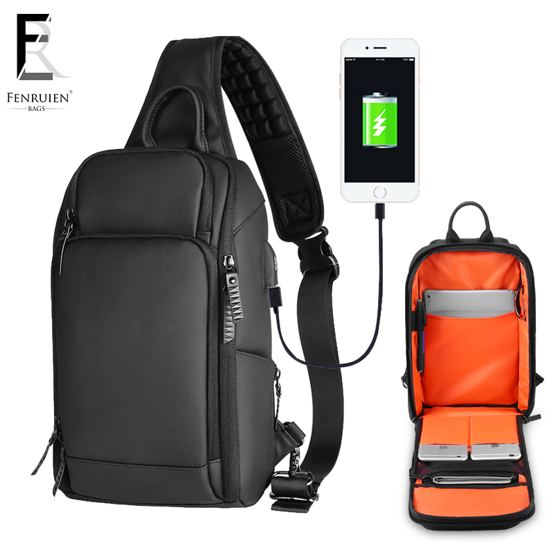 FRN 2019 USB Charging Chest Pack Men Casual Shoulder Crossbody Bag Chest Bag Water Repellent Travel Messenger Bag Male Sling Bag-in Waist Packs from Luggage & Bags