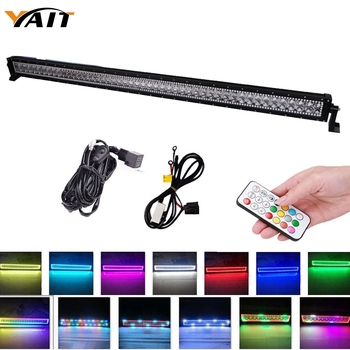 Yait 288w Straight Led work light bar 50 inch led lights with Chasing RGB Halo Spot flood Combo LED Lights By Remote Controlled