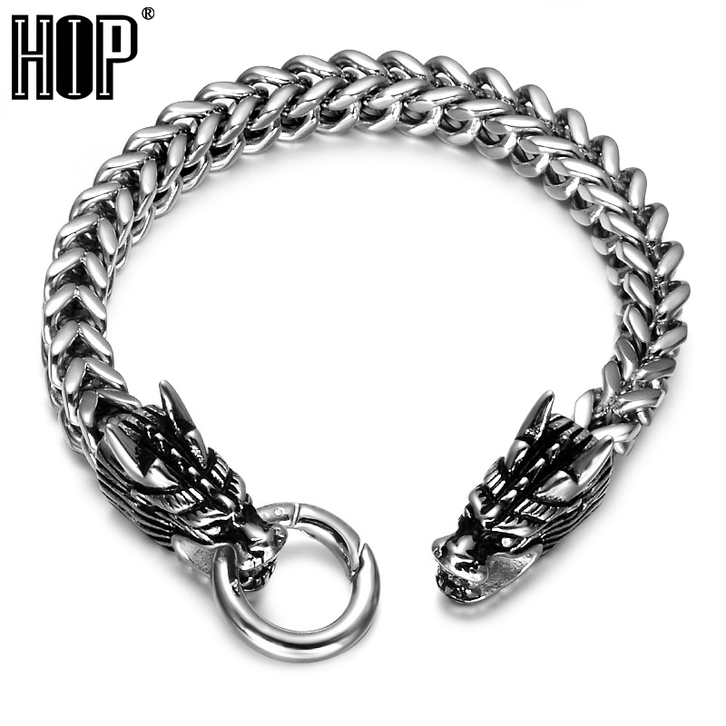 HIP Punk Rock Chinese Style Dragon Mens Bracelet 316L Stainless Steel Foxtail Box Link Chain Bracelets For Men JewelryHIP Punk Rock Chinese Style Dragon Mens Bracelet 316L Stainless Steel Foxtail Box Link Chain Bracelets For Men Jewelry