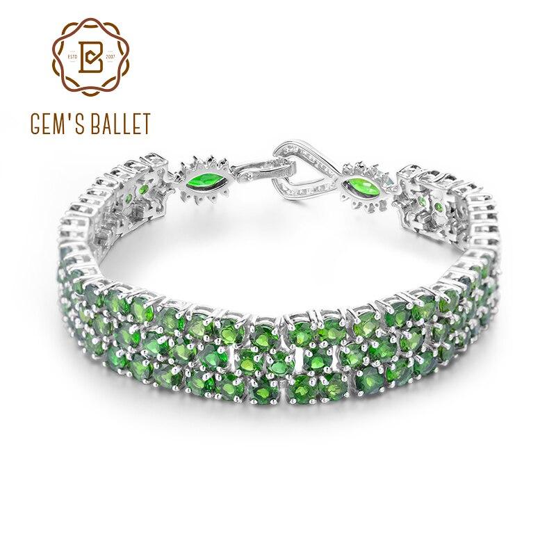GEM S BALLET 29 25Ct Natural Chrome Diopside 925 Sterling Silver Gemstone Chain Link Bracelet For