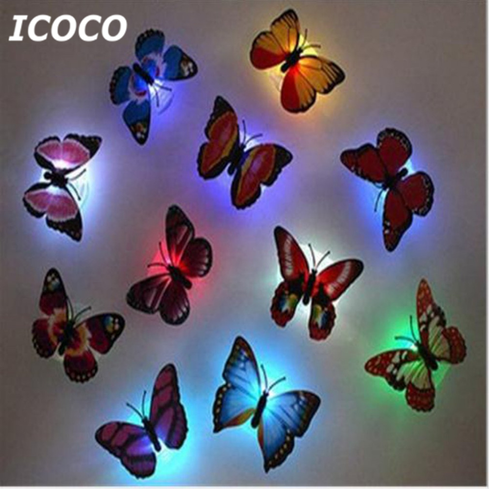 ICOCO Colorful LED Butterfly Night Light 3D Stereo Simulation Butterfly Wall Stickers Wall Decoration LED Night Light Lamp Sale
