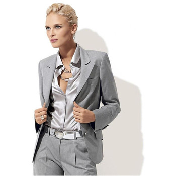 Limited New Pantalones Mujer Custom Fashion Light Grey Women Tuxedos For Peaked Lapel Suits For Two Button Business Suits
