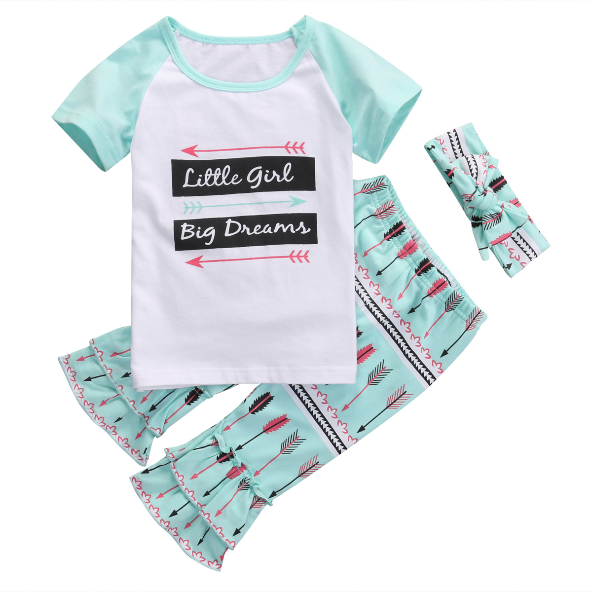 NEW Toddler Kids Girls Clothing Short Sleeve Set Tops T-shirt +Ruffle Pants Floral 3Pcs Outfits 1-6T