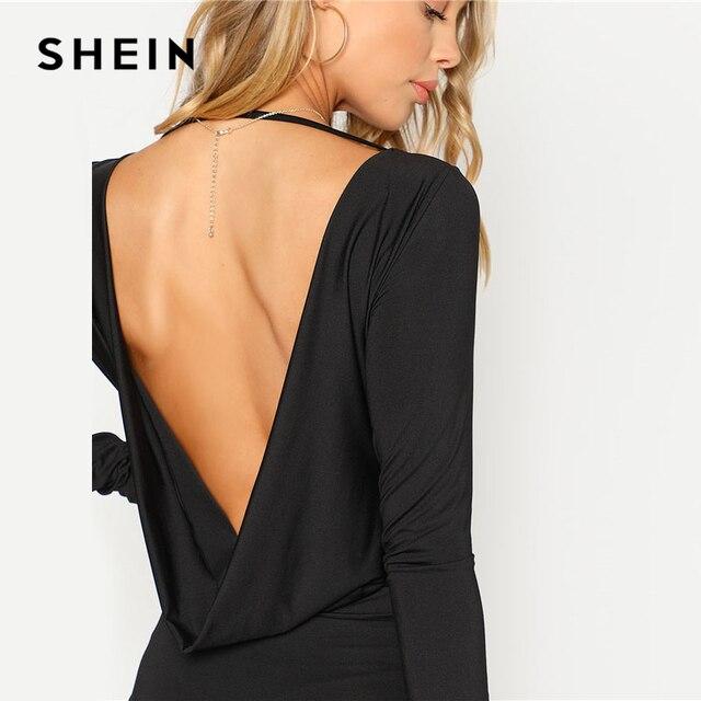 SHEIN Black Backless Solid Skinny Bodysuit Round Neck Open Back Long Sleeve Draped Plain Women Rompers 2018 Sexy Bodysuit 4
