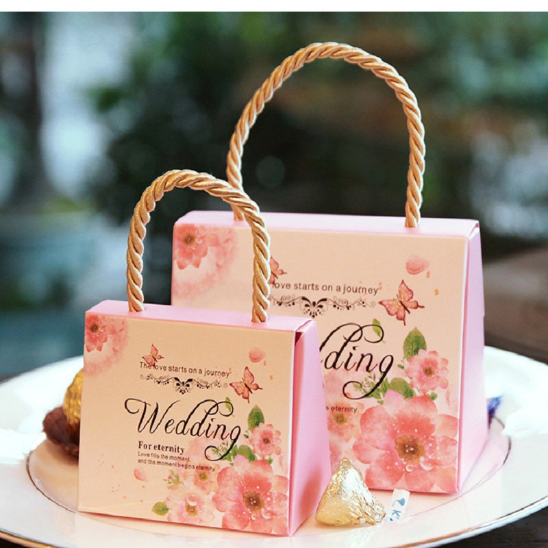 100 PCS Candy Bag For Wedding Sweet Paper Bag Wedding Favors Gift For Guest Bride Groom Wedding Party Decoration