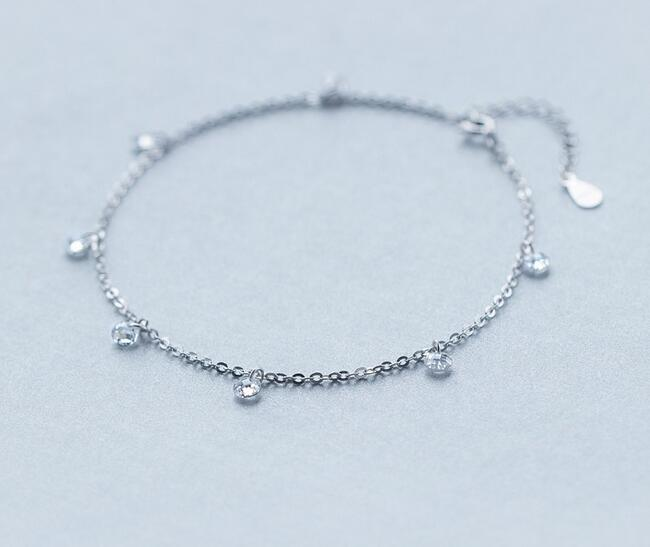 Real. 925 -Sterling -Silver-Jewelry crystals Round CZ Stone Anklet bracelet adjustable Charm jewelry GTLS237