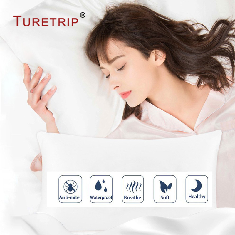 Turetrip King 21x37Waterproof Pillow Protector Set of 2 Pillowcase Anti Mites Bed Bug Proof Zipper Pillow Cover Allergy Pilow