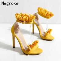 2019 New Designer Pleated High Heels Women Sandals Sexy Falbala Ankle Strap Stiletto Summer Wedding Bridesmaid Bride Woman Shoes