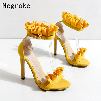 2020 Summer Pleated High Heels Women Sandals Sexy Falbala Ankle Strap Stiletto Wedding Bridesmaid Bride Woman Shoes