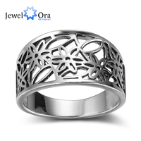 Flower Pattern Hollow Out Fashion Solid 925 Sterling Silver Jewelry Women Rings For Party JewelOra RI102353