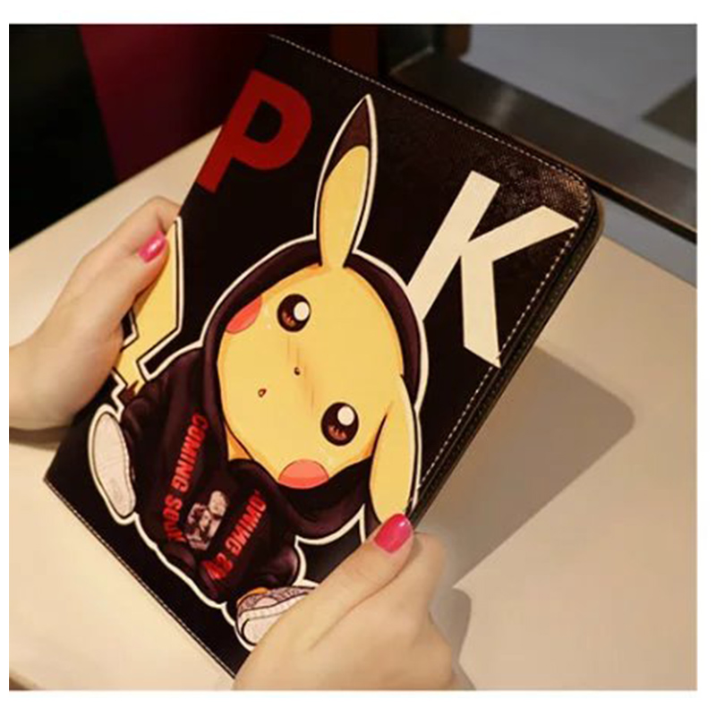 Fashion Gift Pokemon Go Game Pikachu For Mini 123 For iPad Mini 4 Cover Case Smart Sleep Silicone PU Leather Stand Case Cover