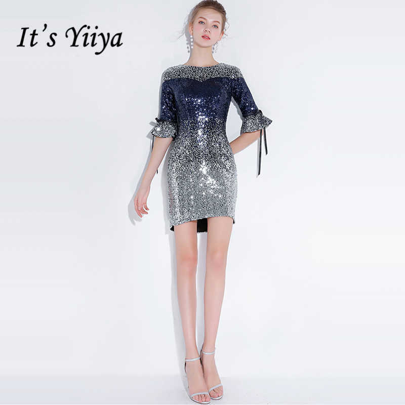 6eb74f92ed4f0d4 Это YiiYa коктейльное платье 2018 Половина рукава вечерние модные  дизайнерские Bling блестками Элегантные Короткие коктейльные платья