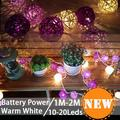 Battery Power Christmas Lights Garlands 10- 20 LED Rattan Ball LED String Fairy Lights Lanterns Wedding Decor Party led strip