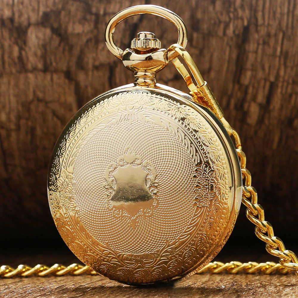 Luxury Golden Shiled Design Skeleton Black Dial Mechanical Hand Wind Pocket Watch For Men Women Gift With Chain
