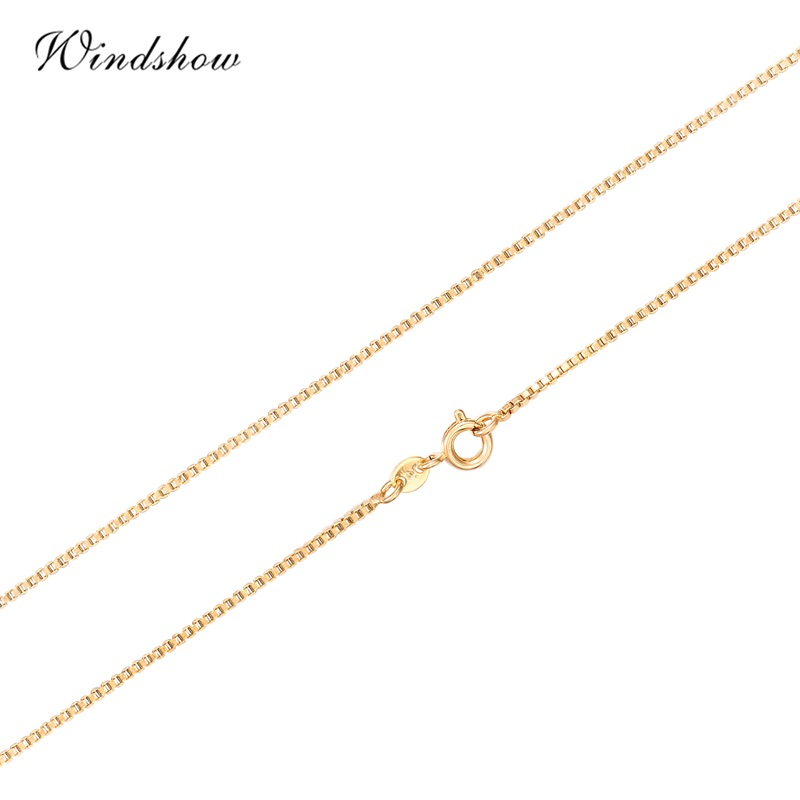 35cm-70cm Width 1mm Slim Yellow Gold Color Box Chain Necklace Chains Jewelry Necklaces Women Men Kids Children Boy Girls