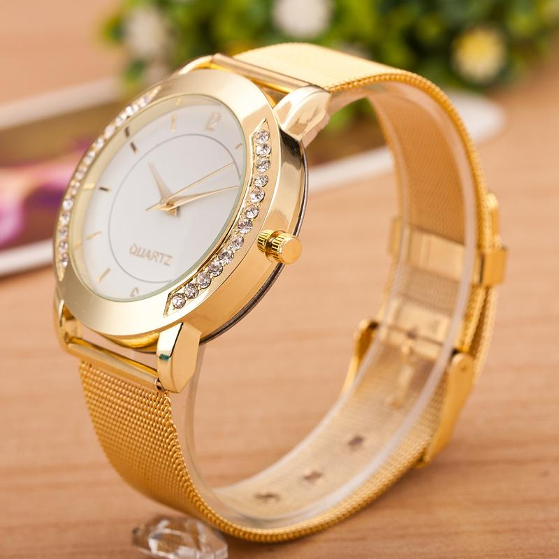 Geneva Brand Famale Quartz Watches Women Casual Gold Stainless Steel Mesh Belt Diamond Frame Quartz Watch Relogio Feminino