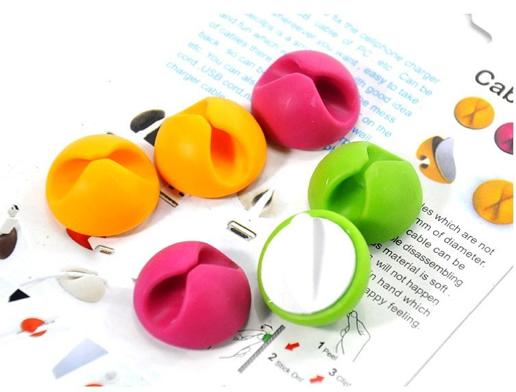 10PCS/lot Multipurpose <font><b>Cable</b></font> Wire <font><b>Organizer</b></font> <font><b>Cable</b></font> Clip Tidy USB Charger Cord Holder desktop Fixed clamp Random Color image