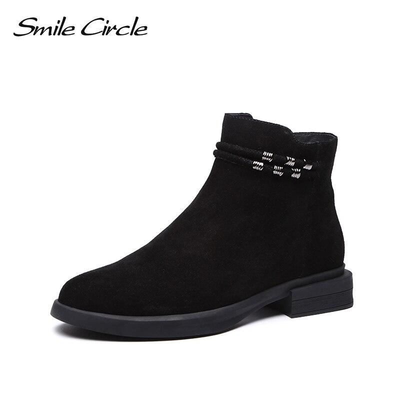 Smile Circle Ankle boots women Autumn Winter Warm Basic boots round toe platform ladies Shoes Short