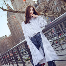 New Women's Shirt Dress Spring 2019 Fashion Streetwear Style Full-Sleeve Irregular Hem design Drawstring Stripe shirt Tops white stripe shirt with irregular hem