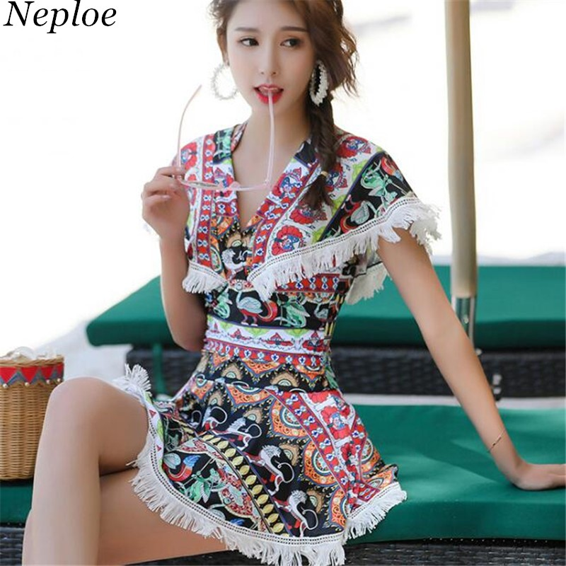 Neploe 2018 Tassel Print Skirt Style Bathing Suit