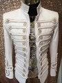 Плюс размер мужчины куртку costumized наряд простой дворец певец белый топ Бар ночной клуб DJ пром одежда партия костюм верхняя одежда