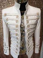 プラスサイズ男性ジャケットcostumized衣装シンプル宮殿男性歌手白トップバーナイトクラブdjウエディング摩耗パーティー衣装の上着