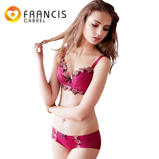 63b1446319f37 placeholder Vintage Rose Russia New Style Bra Bow Panties Set Women Push Up  Bralette Female Bras Brief