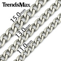 Trendsmax Stainless Steel Necklace Mens Chain Boys Curb Link Wholesale Jewelry Customize Any length KNW43
