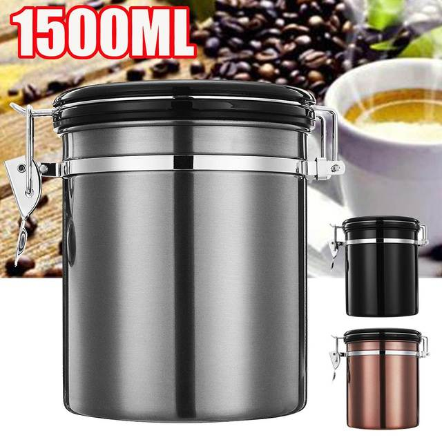 Black/Gold 1.5L Stainless Steel Coffee Bean Storage Container Coffee Sugar Tea Storage & Black/Gold 1.5L Stainless Steel Coffee Bean Storage Container Coffee ...