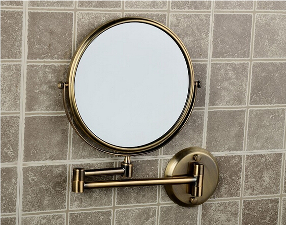 Hot Sale Bathroom Anti bronze Wall Mounted 8 inch Brass 3X 1X Bath Mirror Folding Makeup