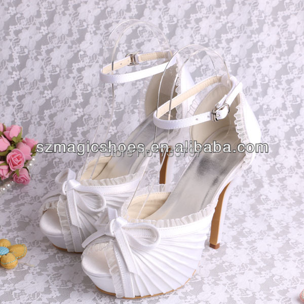 (20 Colors)Free Shipping Satin Sandals For Women Wedding Sandals White High Heels With Bow
