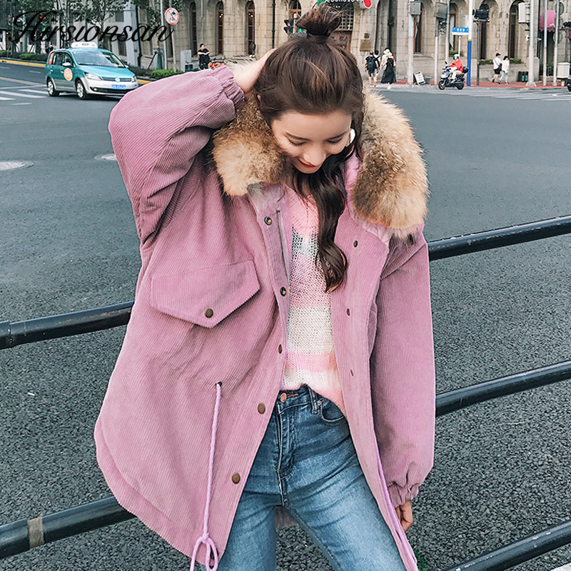 Hirsionsan Large Raccoon Fur Collar Parka Winter Jacket Women 2017 New Korean Fashion Corduroy Outwear Thick Warm Hooded Coat new fashion winter jacket women 2017 large real natural raccoon fur collar hooded jacket thick coat for women outwear down parka