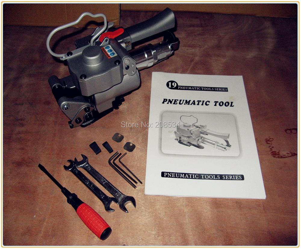 Nuolaida! Aukšto įtempimo 3500 N, rankinio įrankio pneumatinės pakavimo mašinos pakavimo mašinos plastikiniai surišimo įrankiai 13–19 mm