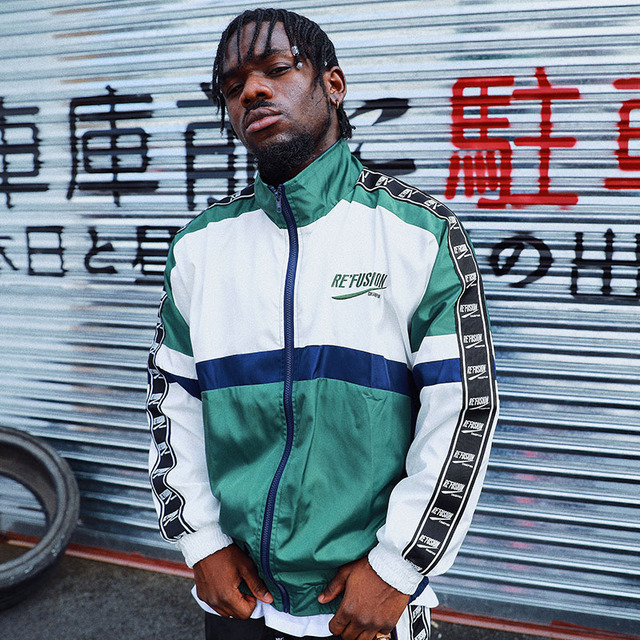 Aolamegs Jackets Men Patchwork Block Thin Jacket Tracksuit Coats Hip Hop Zipper Loose Fashion Casual Male Windbreaker Streetwear