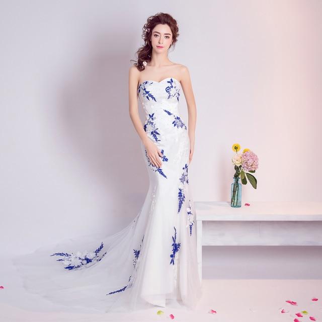 a6c545dad21b Angelo Abito Da Sposa Matrimonio Sposa Abito Da Sposa Vestido De Noiva  porcellana bianca e Blu