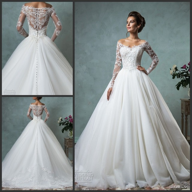 9b2c8eb94b3 Gorgeous Wedding Dresses Off the Shoulder Lace Long Sleeves Embroidered  Ball Tulle Wedding Gowns Princess Illusion