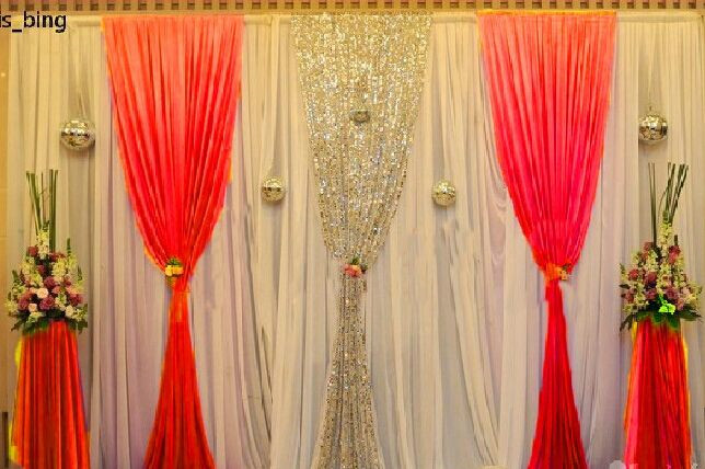 3*3m Or 3*6m White Ice Silk Sequin Wedding Backdrop Curtain With Swag