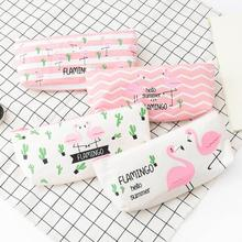 1pcs/lot Cute Multi-function Cactus Flamingo Pen Bag Four Selection Pencil Case Stationery