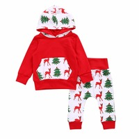 Puseky Christmas Newborn Baby Girl Boy Outfits Clothes Hoodie Hooded Tops+Pants+Hat Clothing Set Autumn Winter 0-2Y