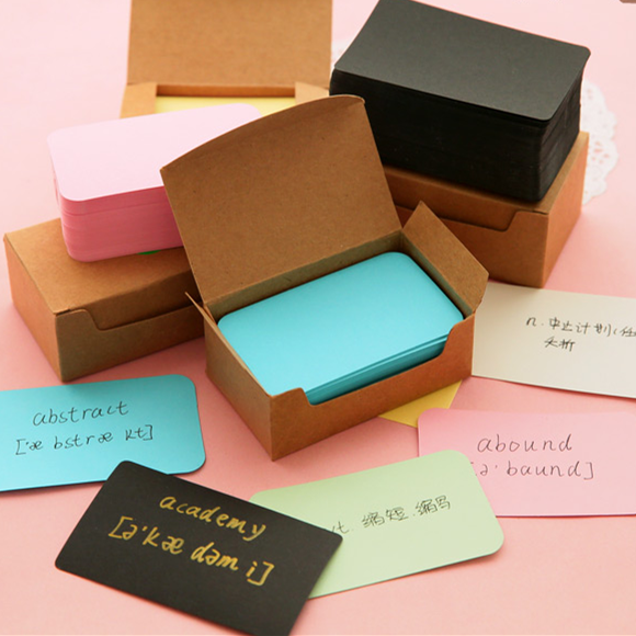 100 Pcs/lot 90*54mm Vintage Blank Card DIY Greeting Cards Graffiti Word Cards Thick Kraft Paper Colorful Blank Postcards