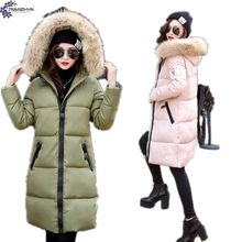 TNLNZHYN 2017 New Winter Coat Quality Woman Plus Size Defined Waist Thicken Cotton-padded fur collar long Hooded Outerwear TT721